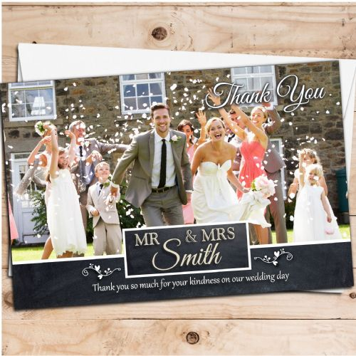 10 Personalised Premium Wedding Thank you Photo Cards N261